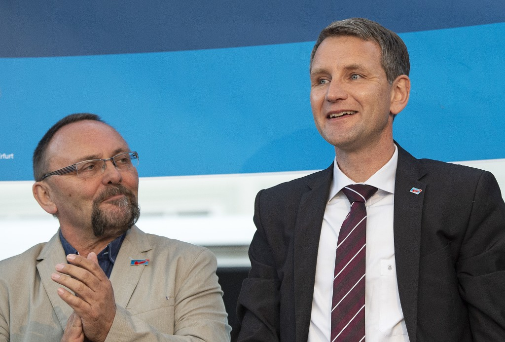 File----Picture taken May 18, 2016, shows Frank Magnitz, member of the AfD parliamentary group Bundestag in Berlin, left, besides Bjoern Hoecke, head ...
