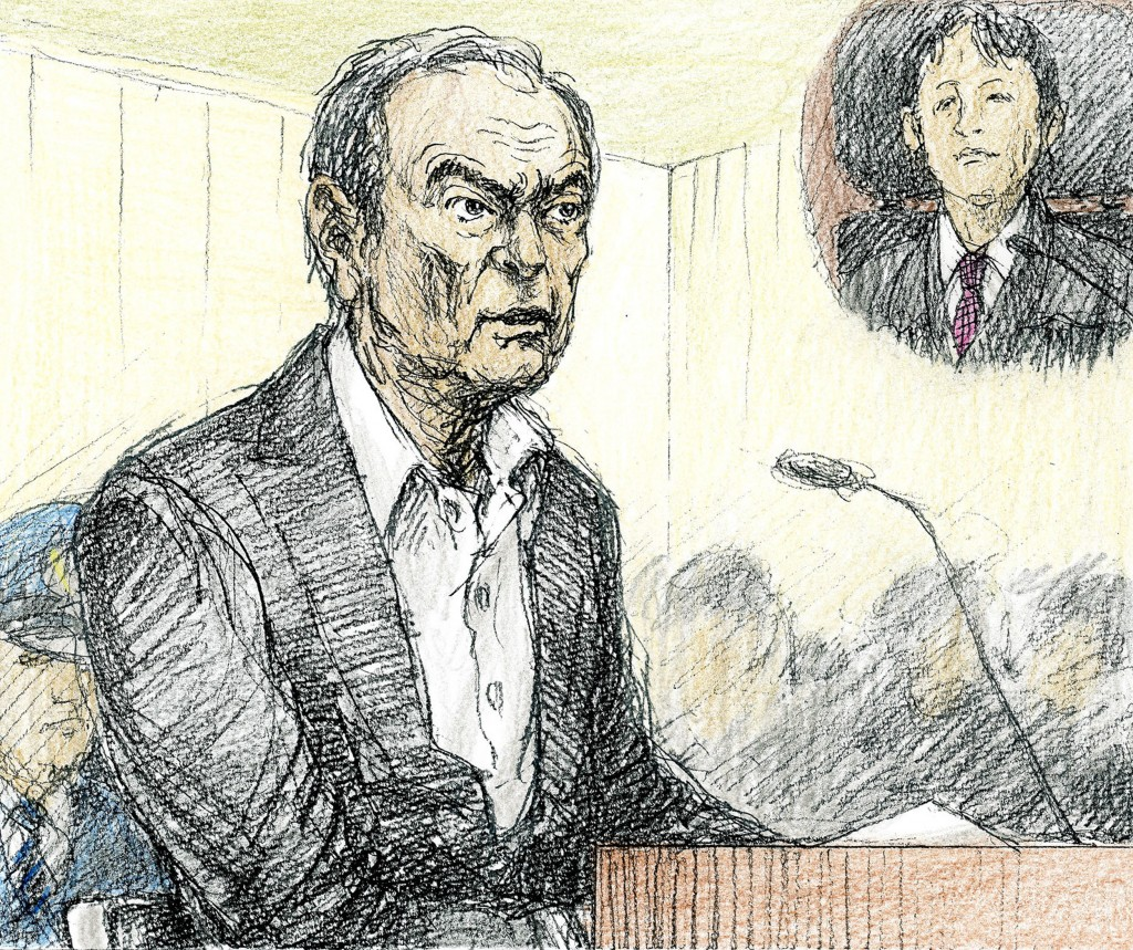 This courtroom sketch depicts former Nissan chairman Carlos Ghosn in a courtroom at the Tokyo District Court in Tokyo Tuesday, Jan. 8, 2019. Ghosn, de...