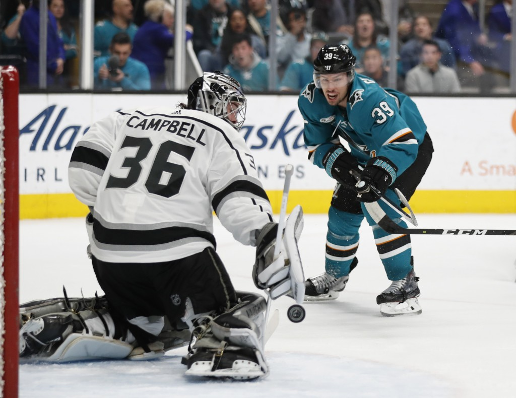 Los Angeles Kings Jack Campbell (36) makes a save against the San Jose Sharks' Logan Couture (39) in the first period of an NHL hockey game in San Jos