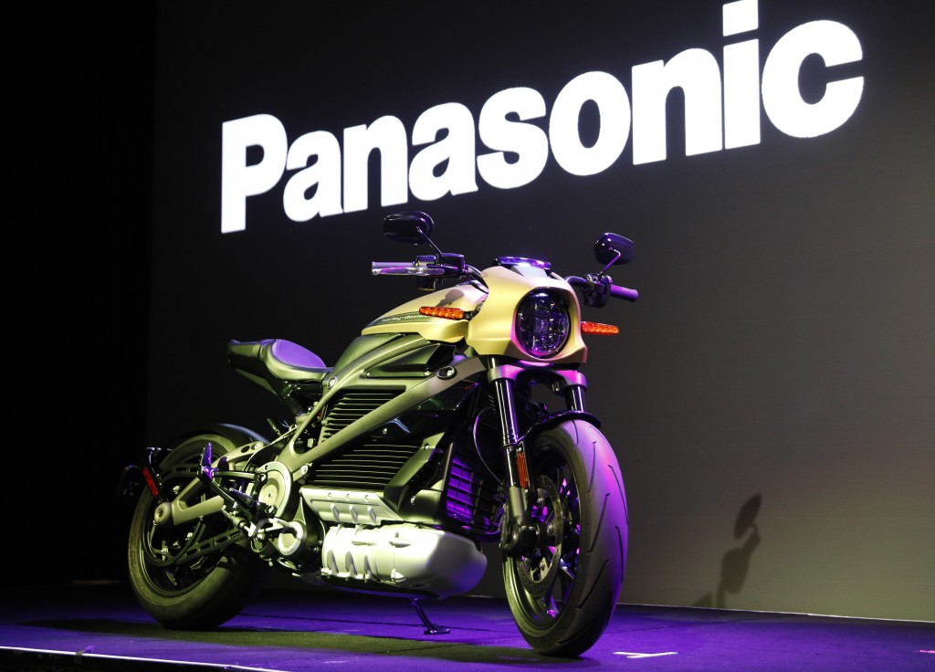 A Harley-Davidson Motorcycles LiveWire electric motorcycle is on display during a Panasonic news conference at CES International, Monday, Jan. 7, 2019...