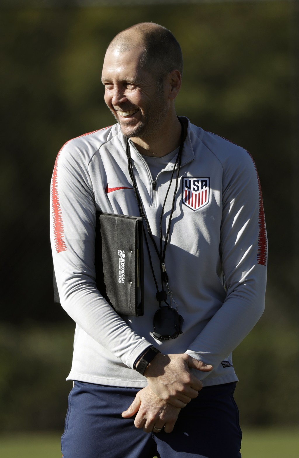 United States head coach Gregg Berhalter smiles during soccer training camp Monday, Jan. 7, 2019, in Chula Vista, Calif. (AP Photo/Marcio Jose Sanchez...