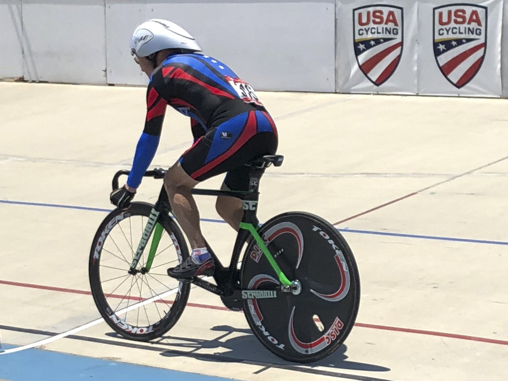 In this photo taken on July 10, 2018 , Carl Grove, a 90-year-old record-setting cyclist, races at the USA Cycling Masters Track Nationals in Breinigsv