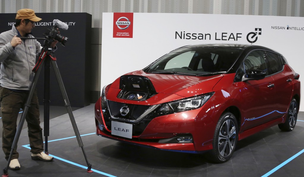 Nissan LEAF e+ is on display at the global headquarters of Nissan Motor Co., Ltd. in Yokohama Wednesday, Jan. 9, 2019.  Nissan is showing the beefed u...
