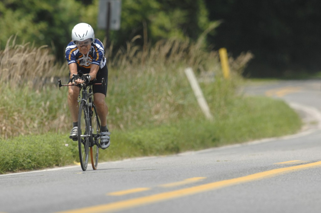 In this Tuesday, August 9, 2011 file picture, Carl Grove trains on an Elkhart County road near Bristol, In.. USA, in preparation for his return trip t