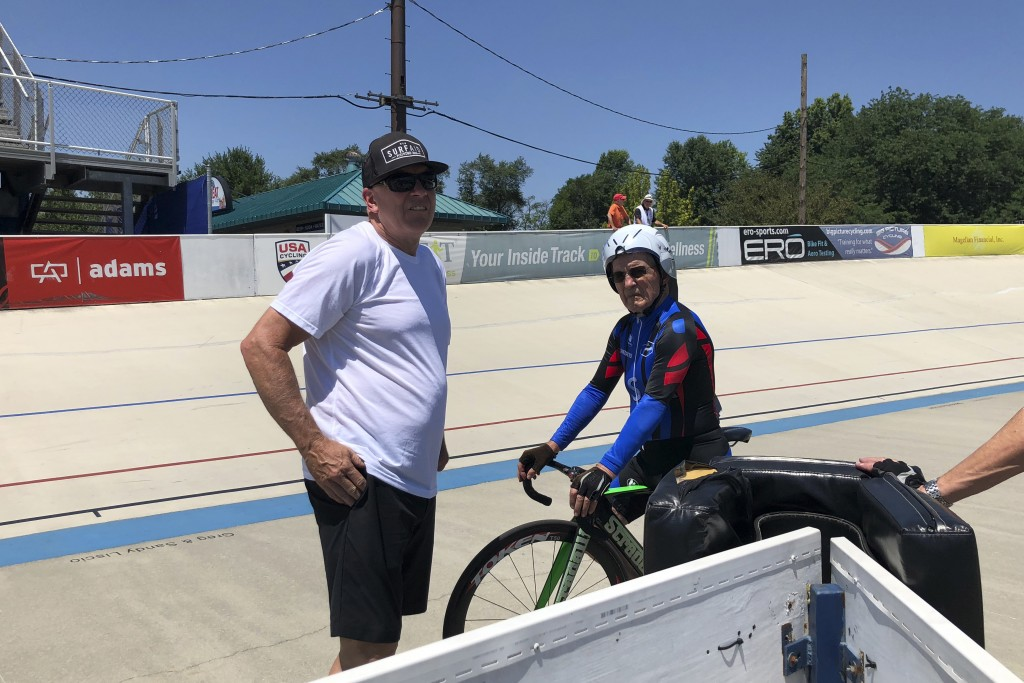In this photo taken on July 10, 2018, Carl Grove, a 90-year-old record-setting cyclist, races at the USA Cycling Masters Track Nationals in Breinigsvi