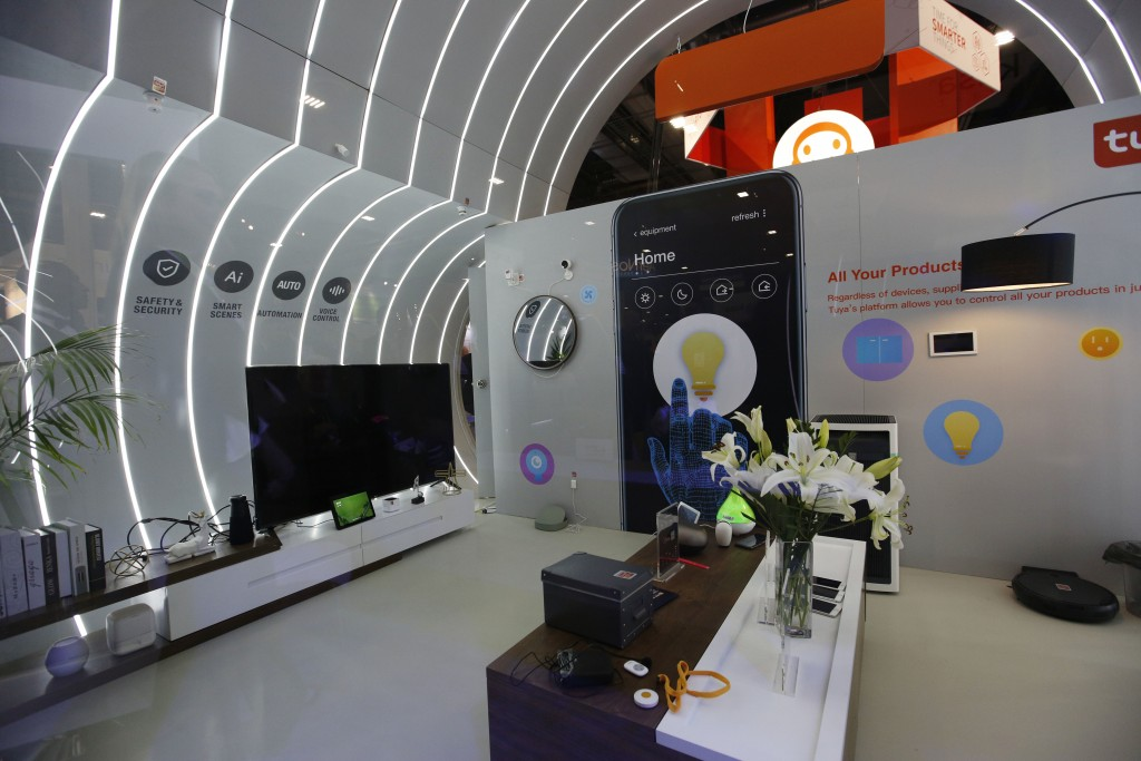 A smart home mockup is on display at the Tuya booth at CES International, Wednesday, Jan. 9, 2019, in Las Vegas. (AP Photo/John Locher)