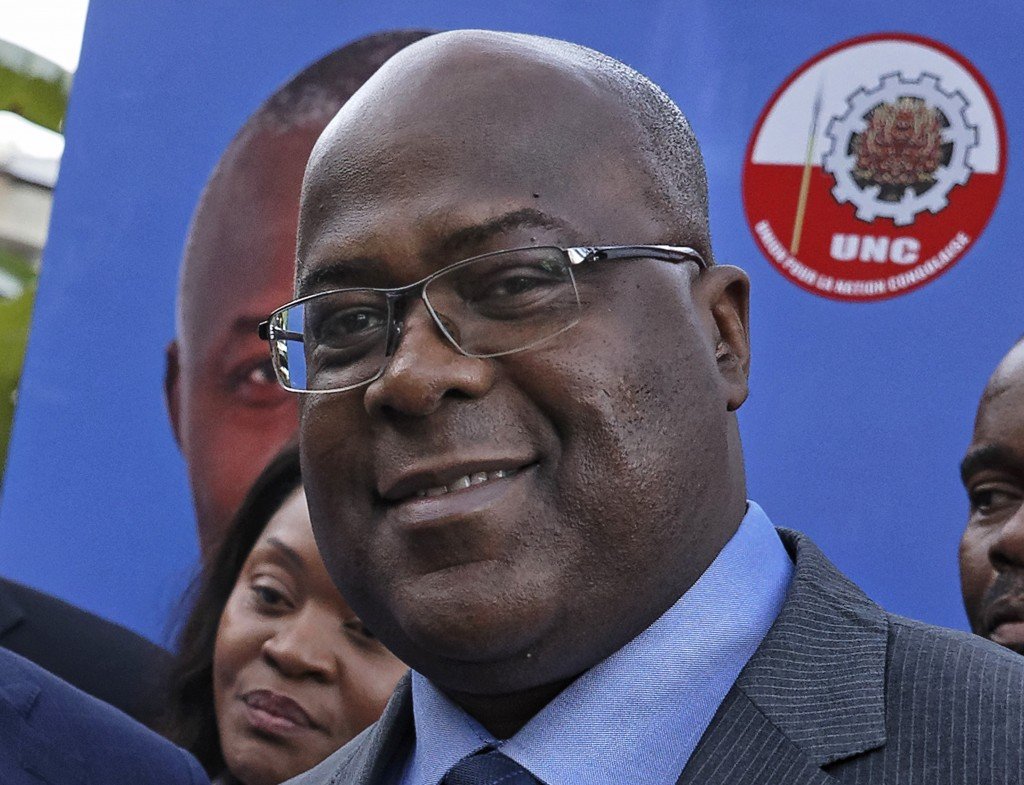 FILE - This Nov. 23, 2018, file photo shows Felix Tshisekedi of Congo's Union for Democracy and Social Progress opposition party, at a press conferenc