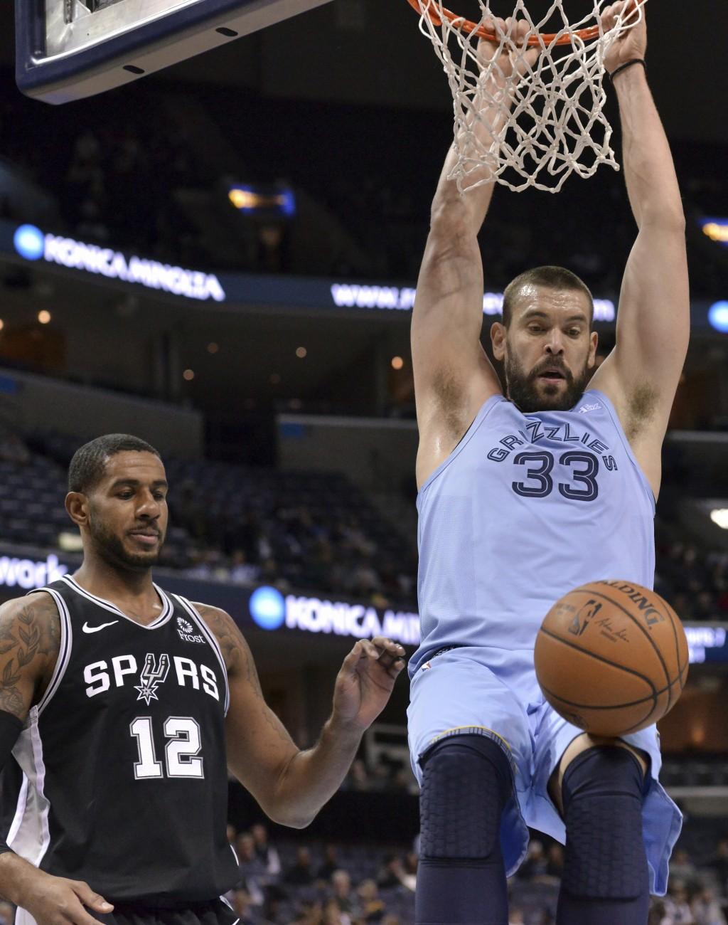 Memphis Grizzlies center Marc Gasol (33) dunks next to San Antonio Spurs forward LaMarcus Aldridge (12) during the first half of an NBA basketball gam