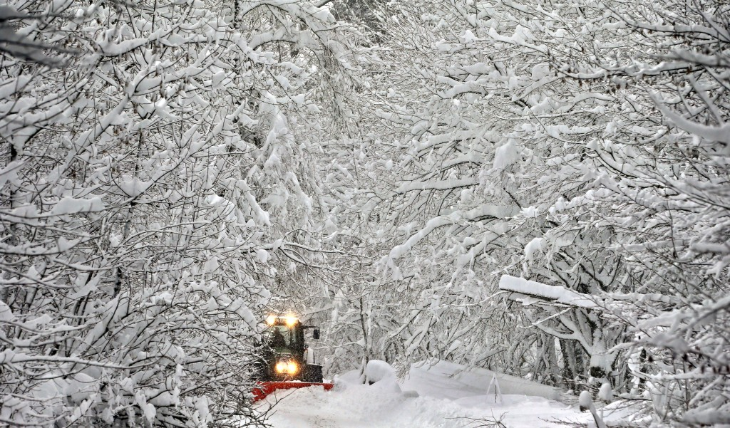 A road in a forest is cleaned from snow in Schongau, southern Germany, Thursday, Jan. 10, 2019 after Austria and southern Germany were hit by heavy sn