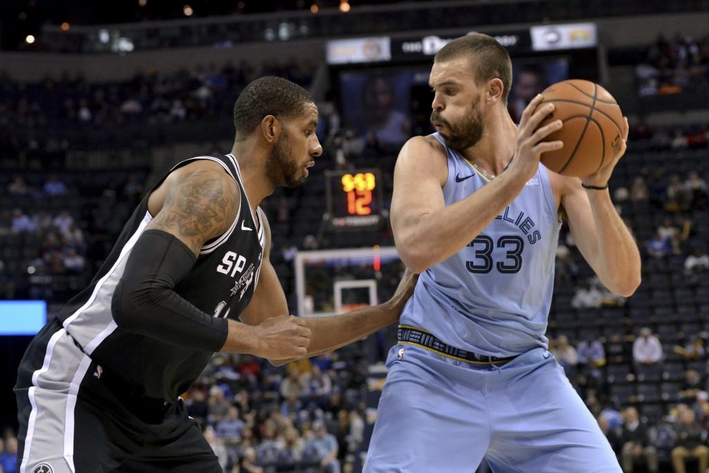 Memphis Grizzlies center Marc Gasol (33) controls the ball next to San Antonio Spurs forward LaMarcus Aldridge during the first half of an NBA basketb...