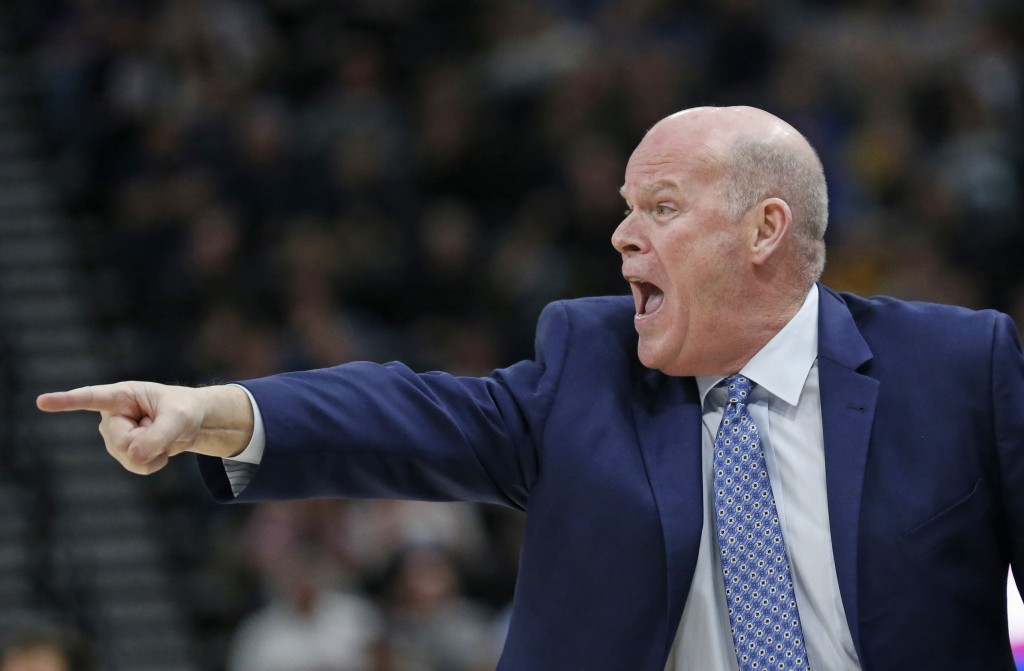 Orlando Magic coach Steve Clifford shouts to his team during the first half of an NBA basketball game against the Utah Jazz on Wednesday, Jan. 9, 2019...