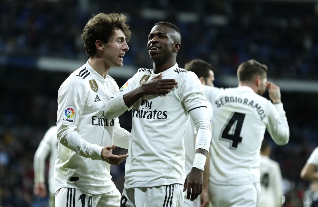 Real Madrid's Vinicius Jr celebrates after scoring during a Spanish Copa del Rey soccer match between Real Madrid and Leganes at the Bernabeu stadium