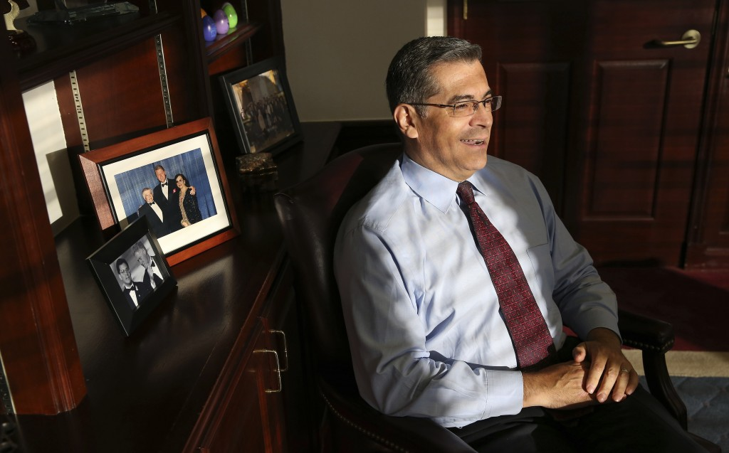 FILE - In this Oct. 10, 2018, file photo, California Attorney General Xavier Becerra discusses various issues during an interview with The Associated