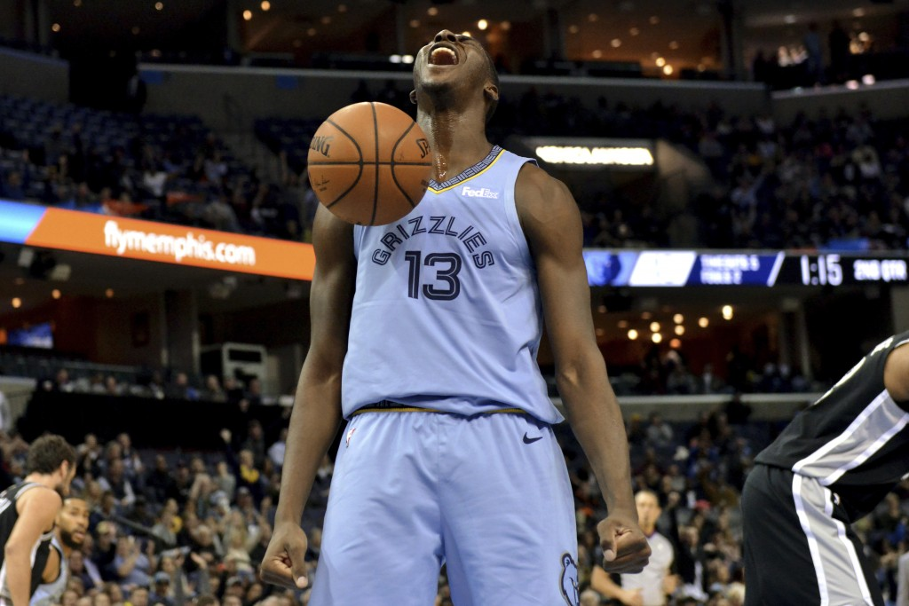 Memphis Grizzlies forward Jaren Jackson Jr. (13) reacts after a dunk during the first half of the team's NBA basketball game against the San Antonio S