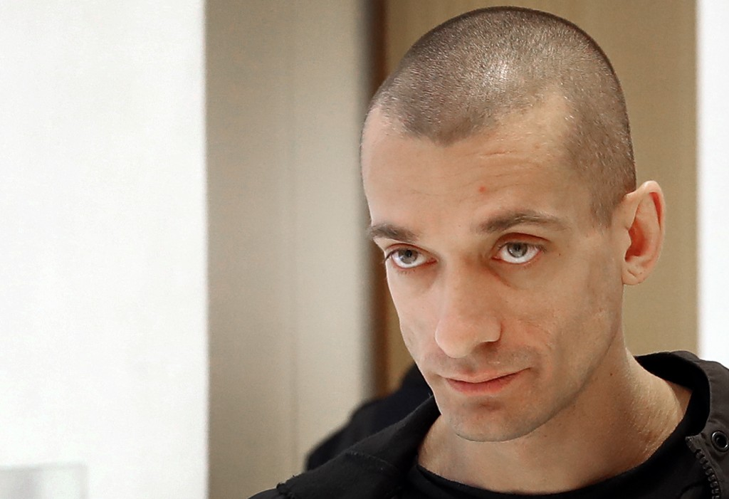 Russian performance artist Pyotr Pavlensky arrives at the Paris courthouse, Thursday, Jan. 10, 2019. Pavlensky goes on trial after he set fire to the
