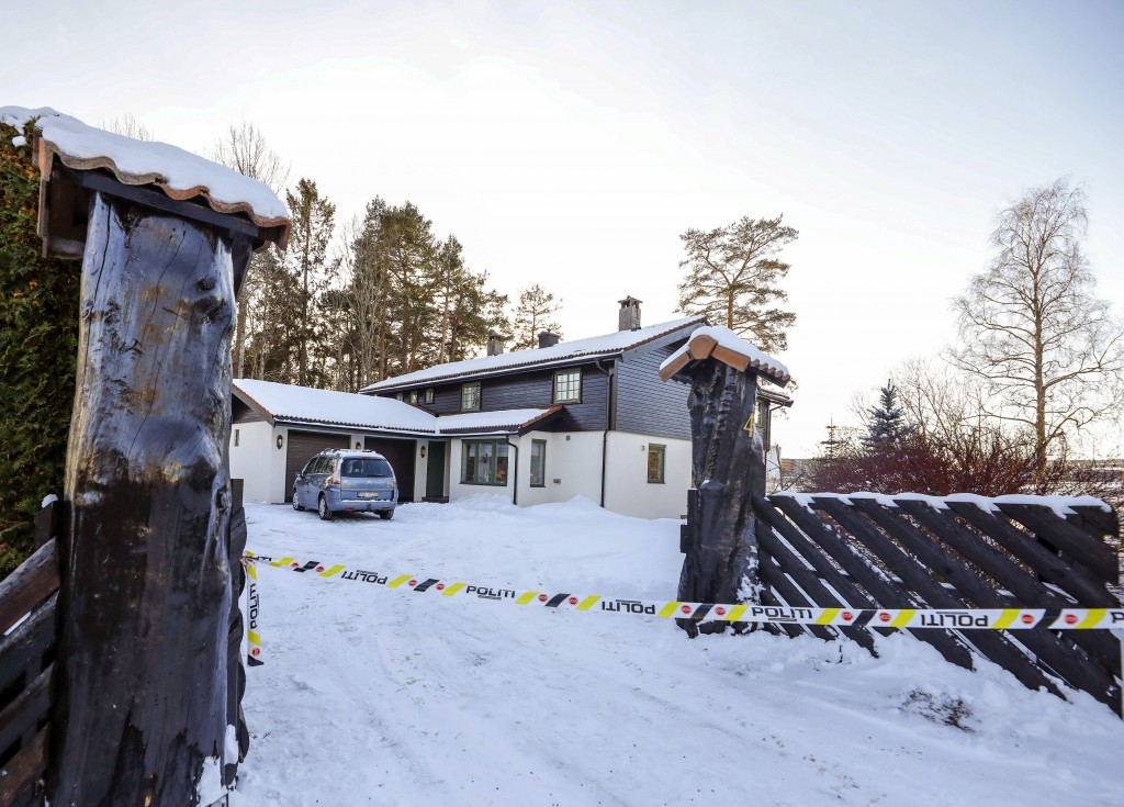Police cordon off the home of Norwegian billionaire Tom Hagen and his wife Anne-Elisabeth Falkevik Hagen in Fjellhamar, Norway, Thursday, Jan. 10, 201