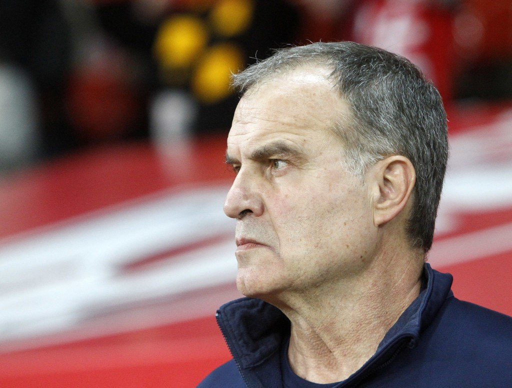 FILE - In this Oct. 29, 2017 file photo, Marcelo Bielsa looks on during their French League one soccer match against Marseille at the Lille Metropole