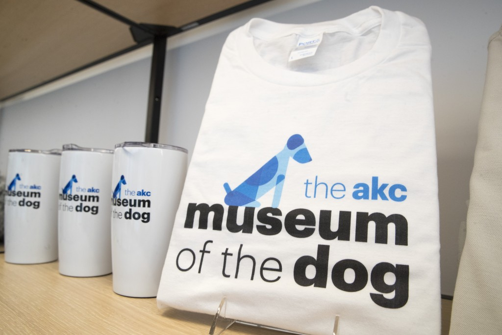 This Wednesday, Jan. 9, 2019, photo shows merchandise with the American Kennel Club Museum of the Dog's logo on display for sale at the museum store i...
