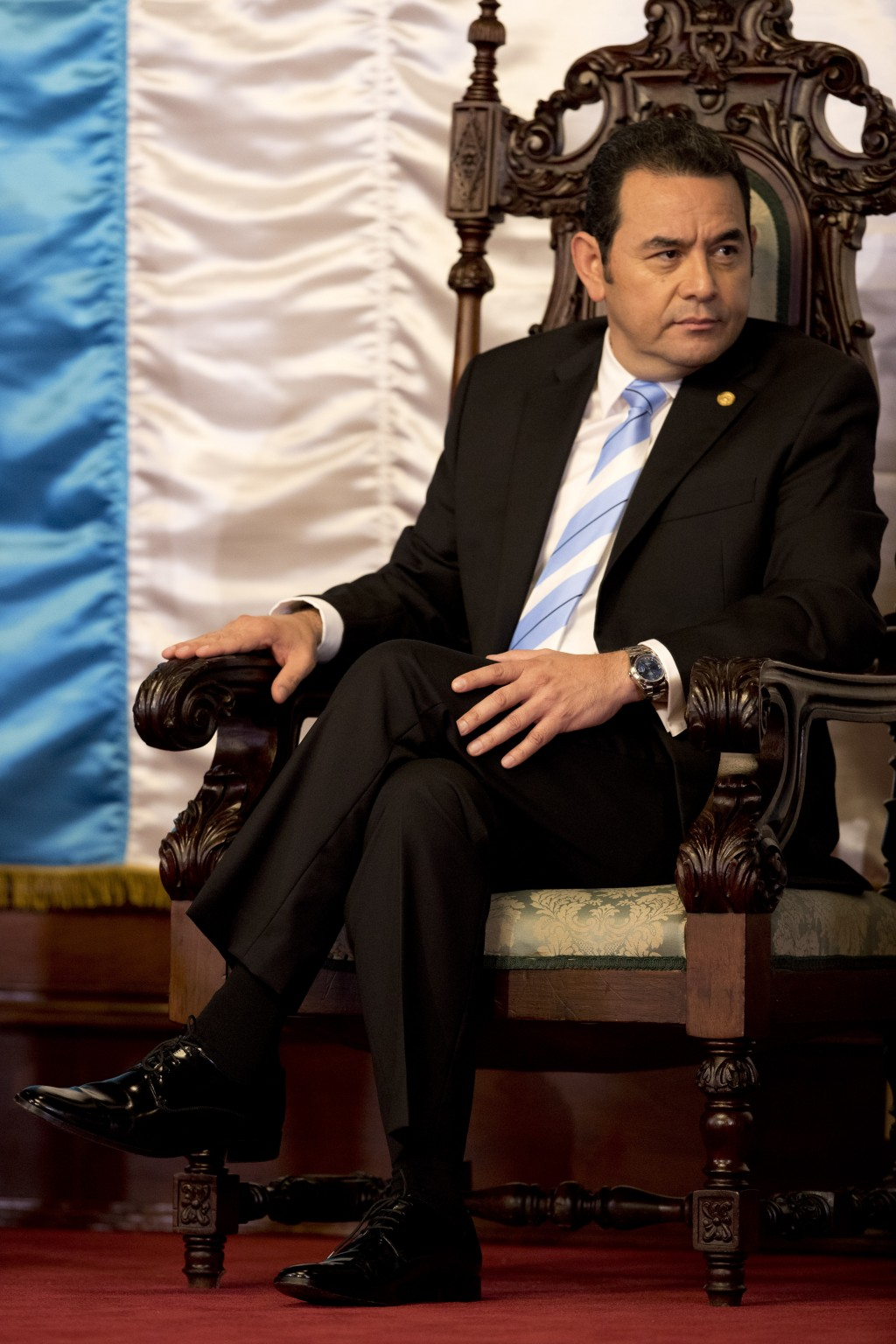 Guatemalan President Jimmy Morales attends a welcoming ceremony for ambassadors, in Guatemala City, Thursday, Jan. 10, 2019. Guatemala's Constitutiona...