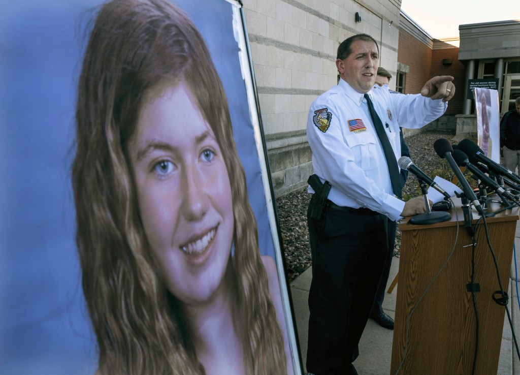FILE - In this Oct. 17, 2018, file photo, Barron County Sheriff Chris Fitzgerald speaks during a news conference about 13-year-old Jayme Closs who has