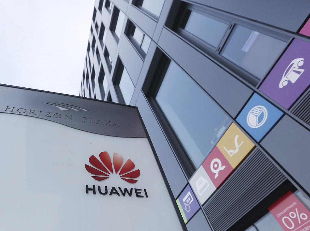 The Huawei logo displayed at the main office of Chinese tech giant Huawei in Warsaw, Poland, on Friday, Jan. 11, 2019. Poland's Internal Security Agen
