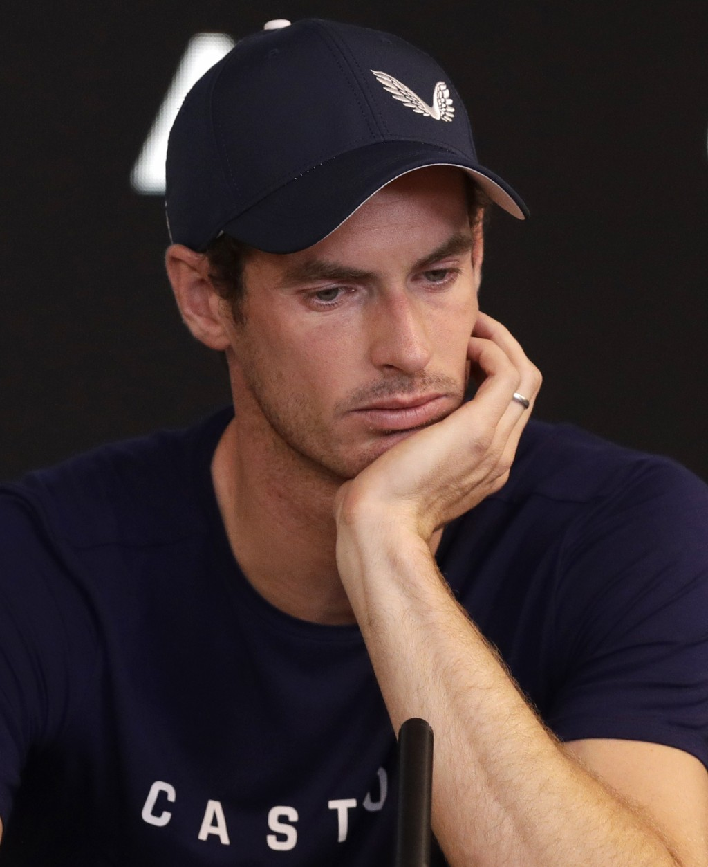 Britain's Andy Murray reacts during a press conference at the Australian Open tennis championships in Melbourne, Australia, Friday, Jan. 11, 2019. A t