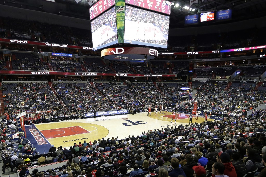 FILE - In this Dec. 19, 2017, file photo, the New Orleans Pelicans and the Washington Wizards play in an NBA basketball game in Washington. A new, gam
