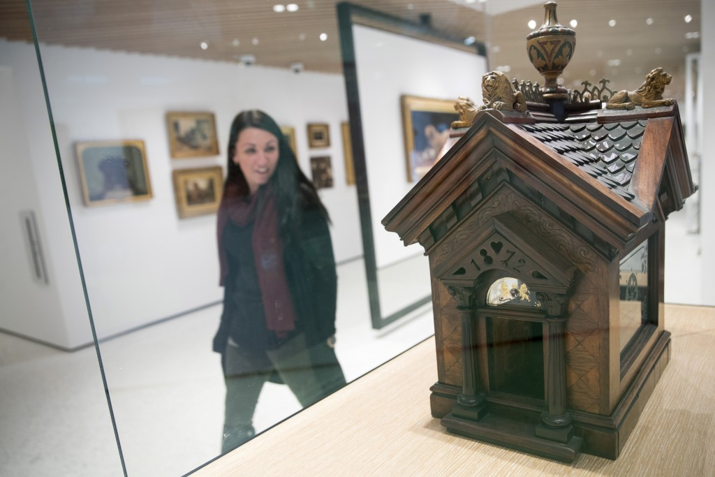 This Wednesday, Jan. 9, 2019, photo shows a British Edwardian-style Dog House for a Chihuahua on display at the American Kennel Club Museum of the Dog...