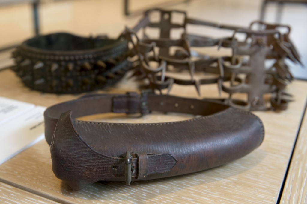 This Wednesday, Jan. 9, 2019, photo shows an American WWII messenger collar, foreground, on display next to other spike collars at the American Kennel...