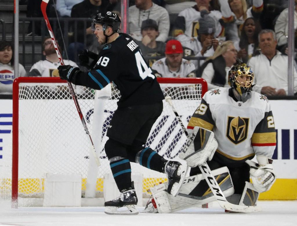 San Jose Sharks center Tomas Hertl (48) celebrates after scoring against Vegas Golden Knights goaltender Marc-Andre Fleury (29) during the second peri