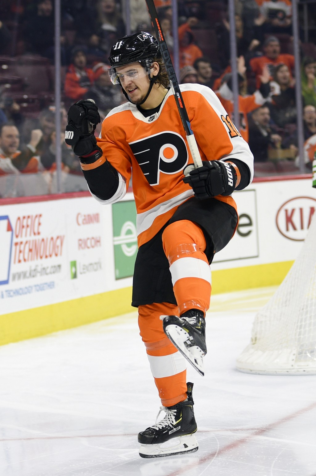 Philadelphia Flyers' Travis Konecny celebrates his goal during the second period of the team's NHL hockey game against the Dallas Stars, Thursday, Jan