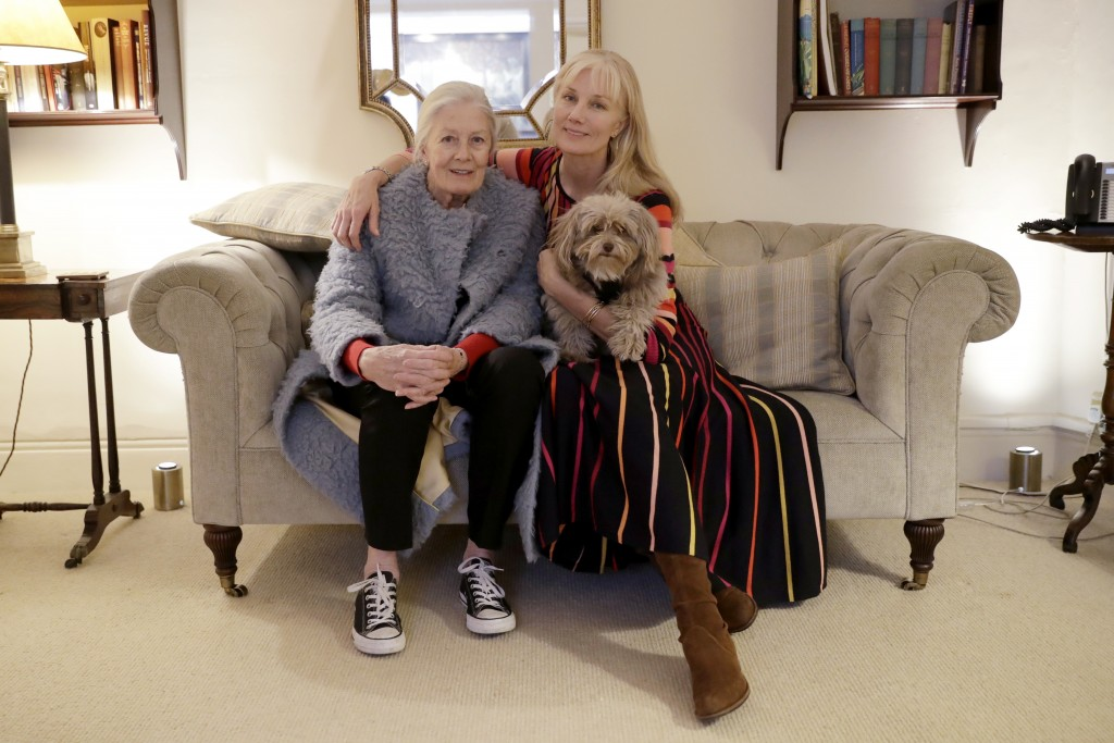 British actresses Vanessa Redgrave, her dog Zep, and her daughter Joely Richardson pose for portrait photographs before an interview with The Associat