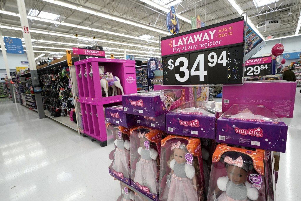 FILE- In this Nov. 9, 2018, file photo toys are displayed at a Walmart Supercenter in Houston. On Friday, Jan. 11, 2019, the Labor Department reports