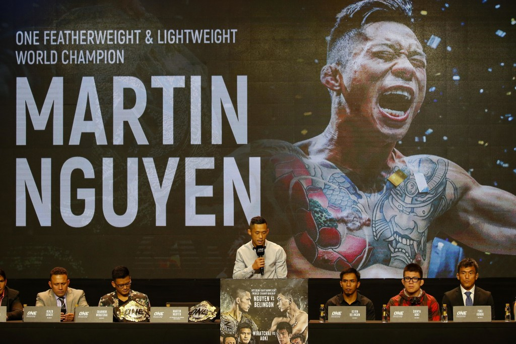 FILE - In this July 24, 2018, file photo, reigning ONE featherweight and lightweight world champion Martin Nguyen  addresses reporters during a news c