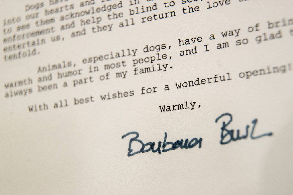 This Wednesday, Jan. 9, 2019, photo shows a detail of the letter former first lady Barbara Bush wrote to the American Kennel Club Museum of the Dog on...
