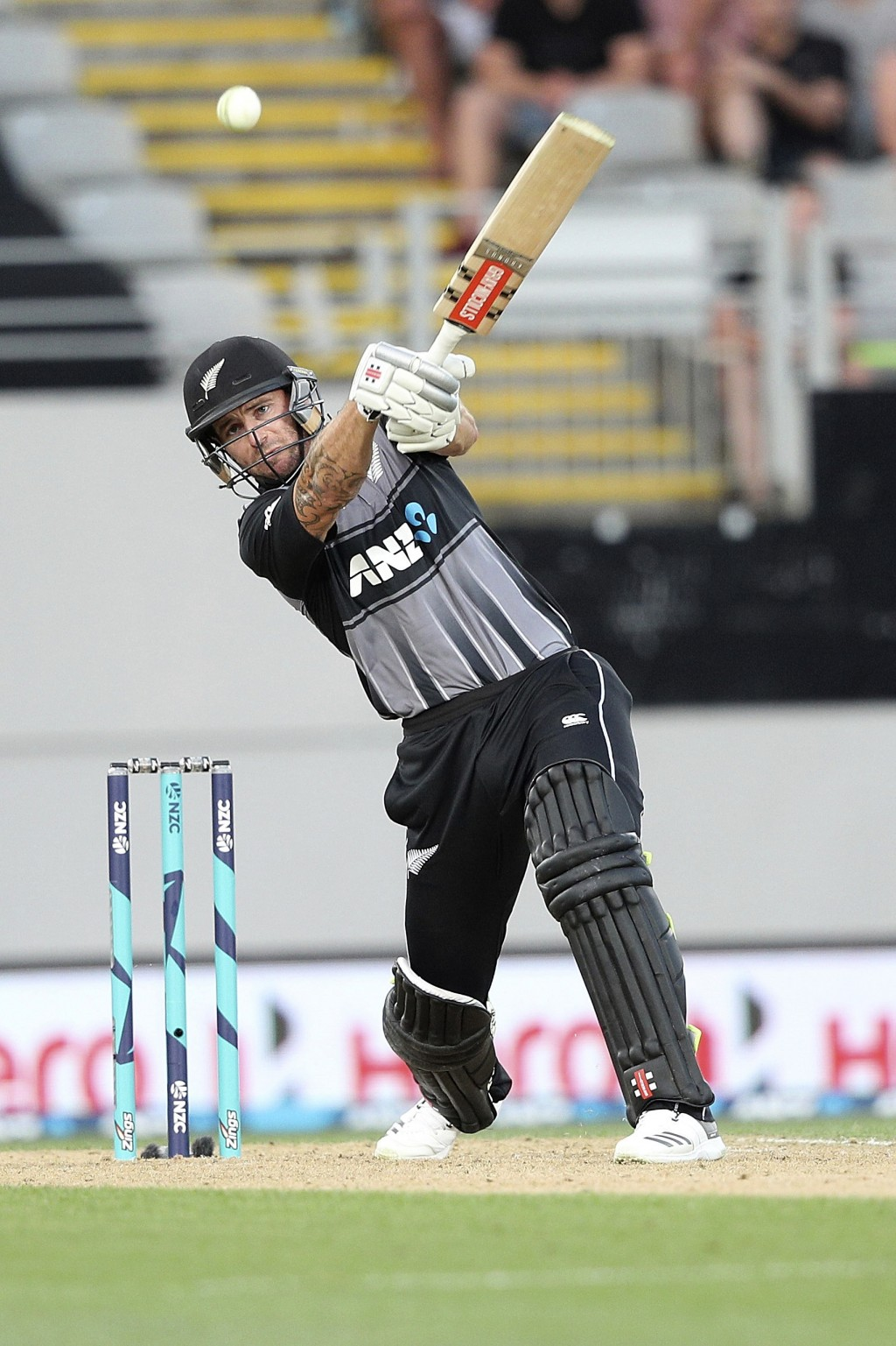 New Zealand's Doug Bracewell bats during their twenty/20 cricket international at Eden Park in Auckland, New Zealand, Friday, Jan. 11, 2019. (AP Photo