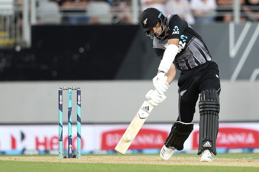 New Zealand's captain Tim Southee bats against Sri Lanka during their twenty/20 cricket international at Eden Park in Auckland, New Zealand, Friday, J