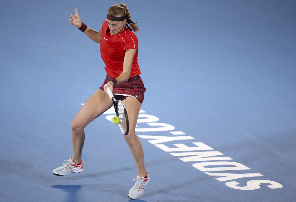 Petra Kvitova of Czech Republic hits a forehand to Aliaksandra Sasnovich of Belarus during their women's singles semifinal match at the Sydney Interna