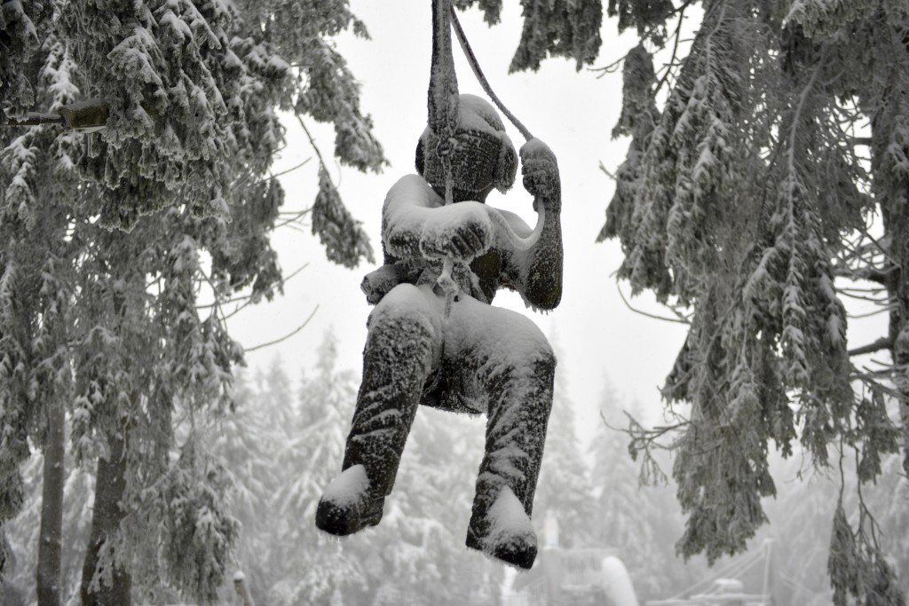 A promotion doll covered with ice and snow hangs between trees near a climbing park at the Wasserkuppe, Germany, Friday, Jan 11, 2019.  (Uwe Zucchi/dp