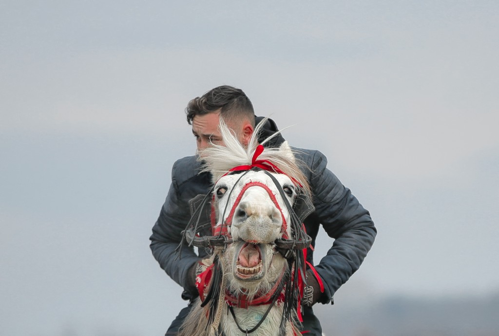 In this Sunday, Jan. 6, 2019, a man rides a horse after an Epiphany celebration horse race in Pietrosani, Romania. Epiphany celebrations bring togethe