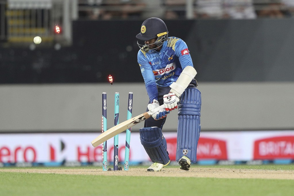 Sri Lanka's Dhananjaya de Silva is bowled out by New Zealand's Lockie Ferguson for 10 runs during their twenty/20 cricket international at Eden Park i