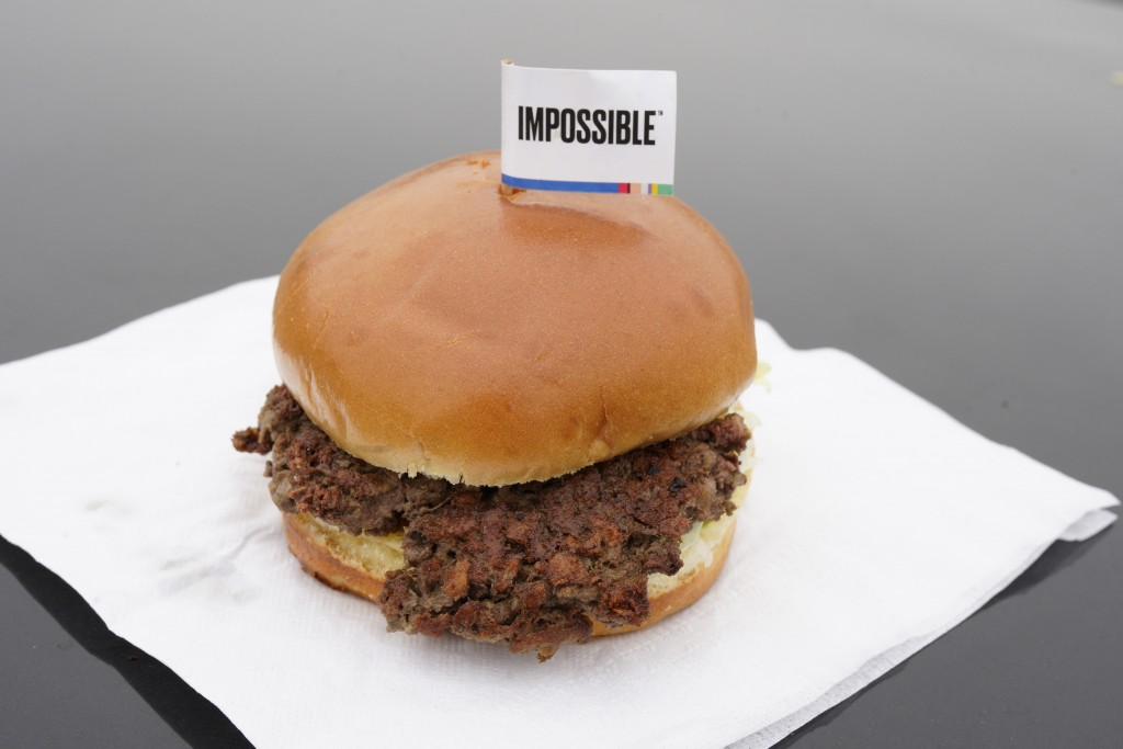 The Impossible Burger, a plant-based burger containing wheat protein, coconut oil and potato protein among it's ingredients, is seen Friday, Jan. 11,