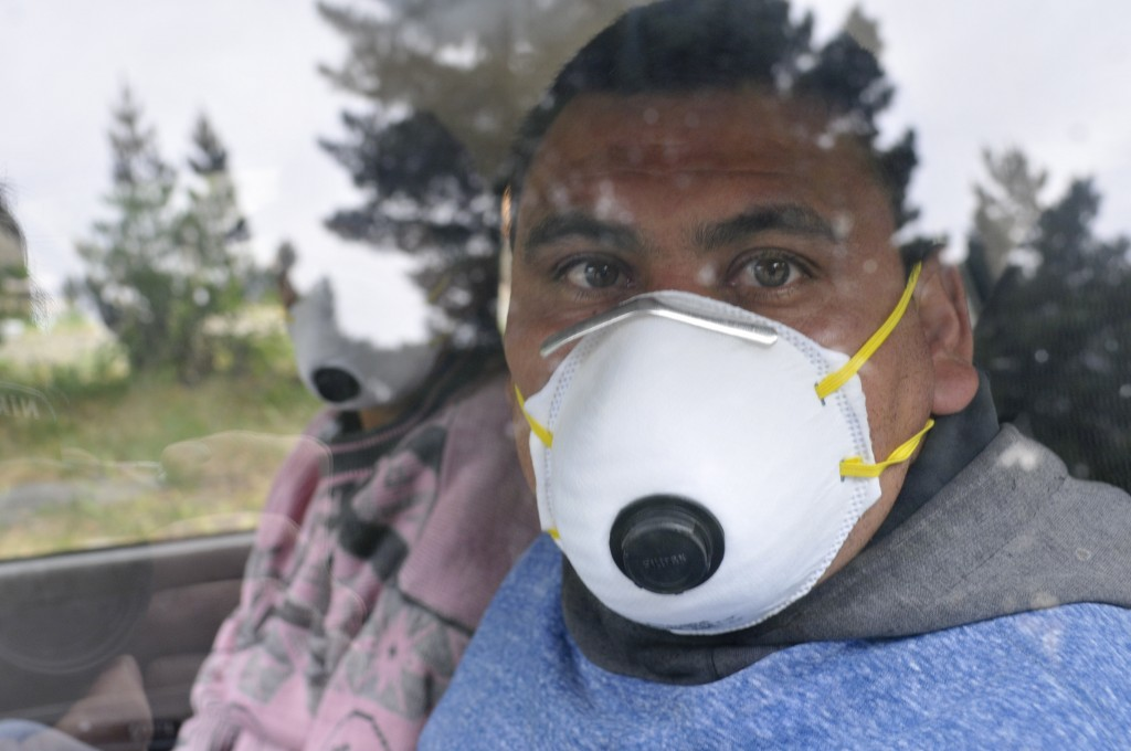 A fruit harvester wearing a face mask looks out the window of his car in Epuyen, Argentina, Friday, Jan. 11, 2019. An Argentine judge has ordered 85 r