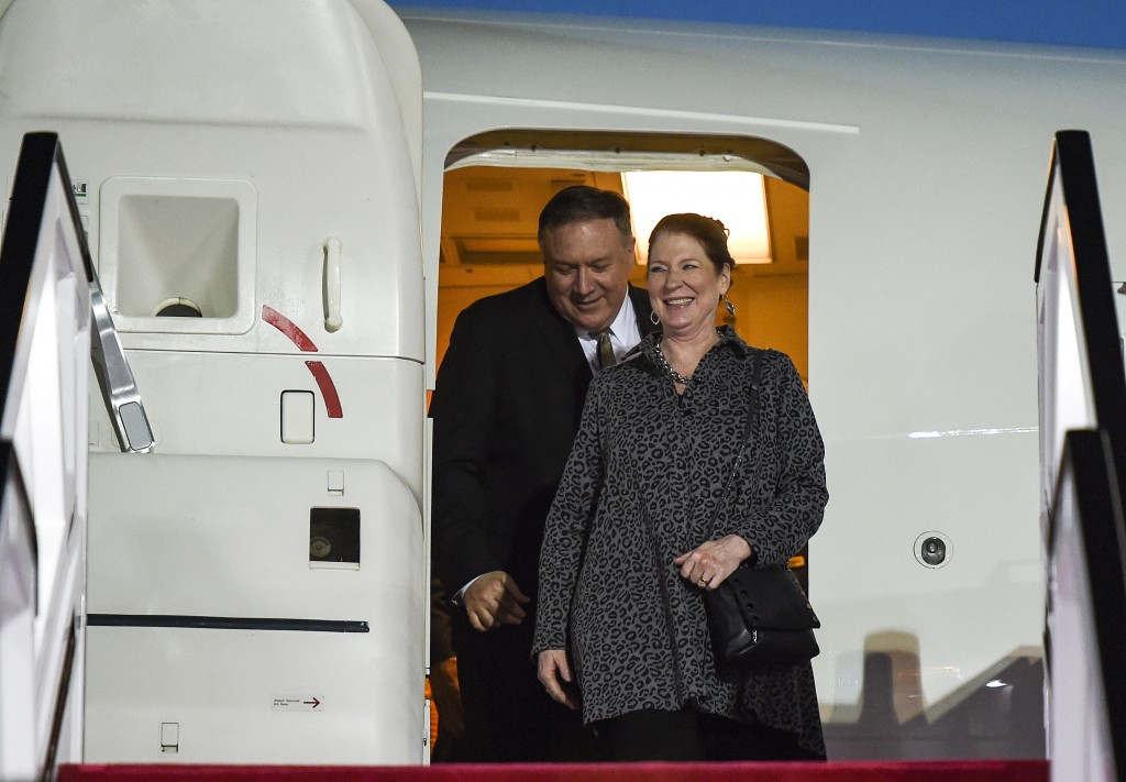 U.S. Secretary of State Mike Pompeo and his wife Susan arrive at Abu Dhabi International Airport in Abu Dhabi, United Arab Emirates, Friday, Jan.  11,