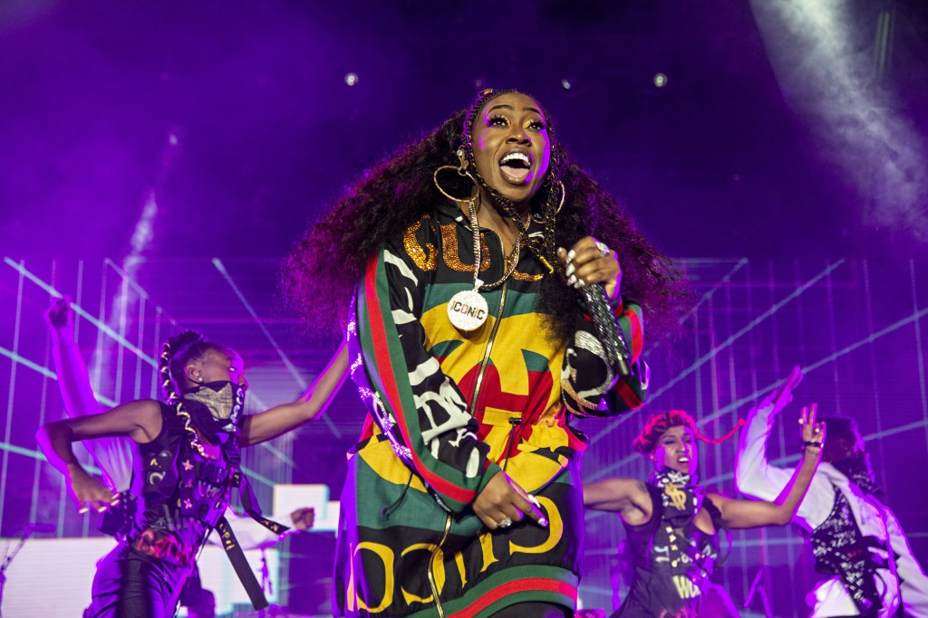 FILE - In this July 7, 2018 file photo, Missy Elliott performs at the 2018 Essence Festival in New Orleans. Missy Elliott is making history as the fir