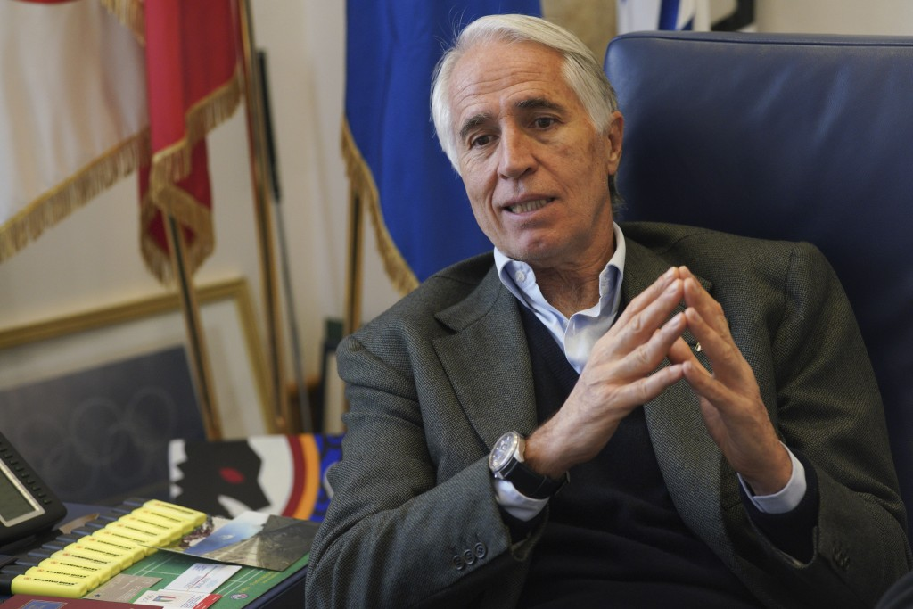 President of the Italian National Olympic Committee, CONI, Giovanni Malago' talks during an interview with The Associated Press, in Rome, Friday, Jan.