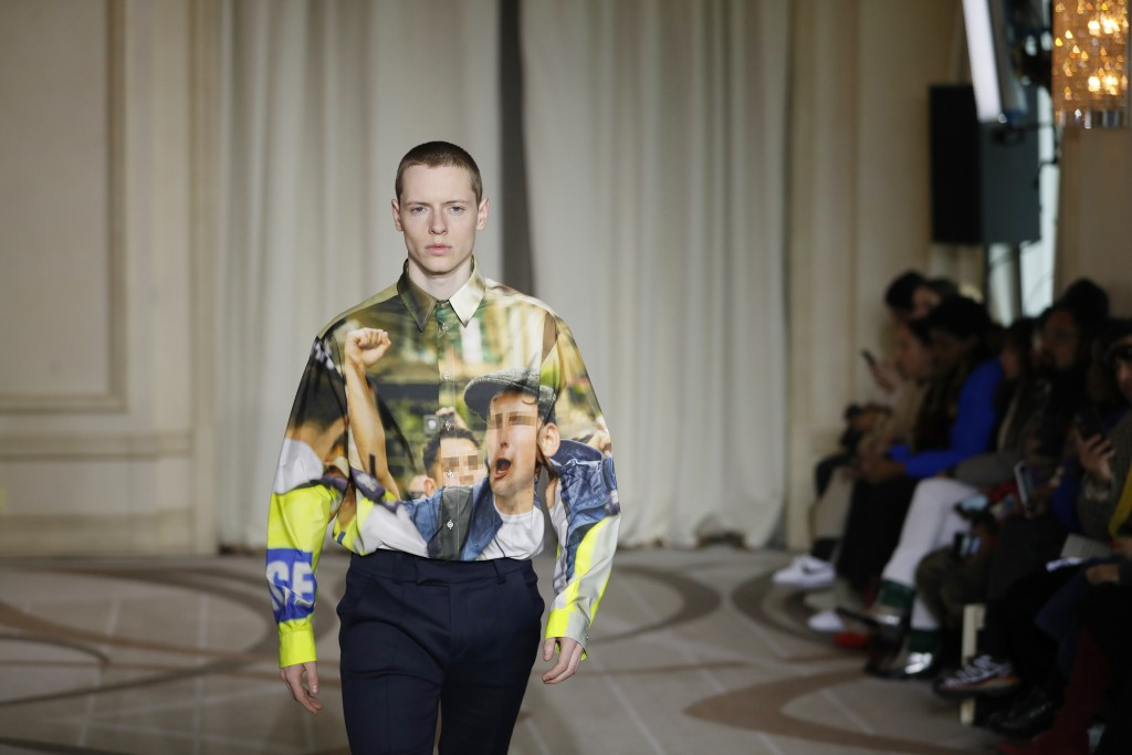 A model wears a creation as part of the M1992 men's Fall-Winter 2019-20 collection, that was presented in Milan, Italy, Saturday, Jan.12, 2019. (AP Ph