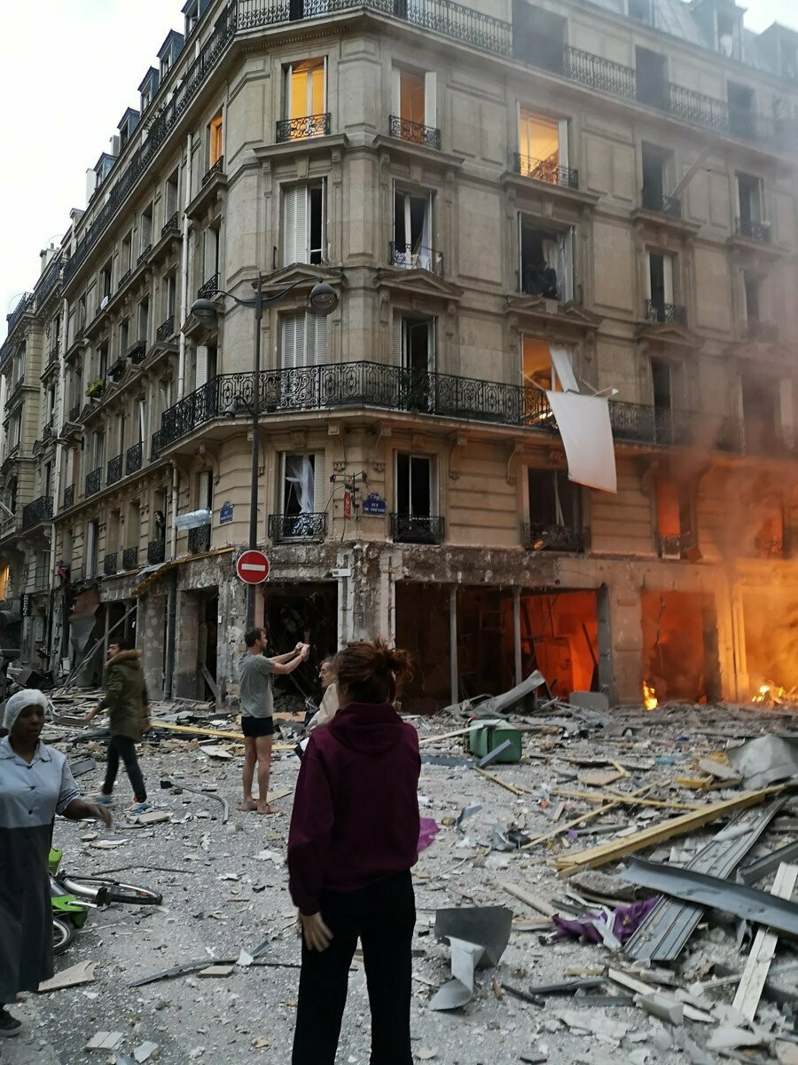 The scene of a gas leak explosion in Paris, France, Saturday, Jan. 12, 2019. A powerful explosion and fire apparently caused by a gas leak at a Paris