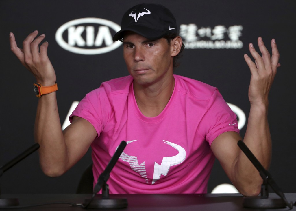 Spain's Rafael Nadal gestures during a press conference ahead of the Australian Open tennis championships in Melbourne, Australia, Saturday, Jan. 12,