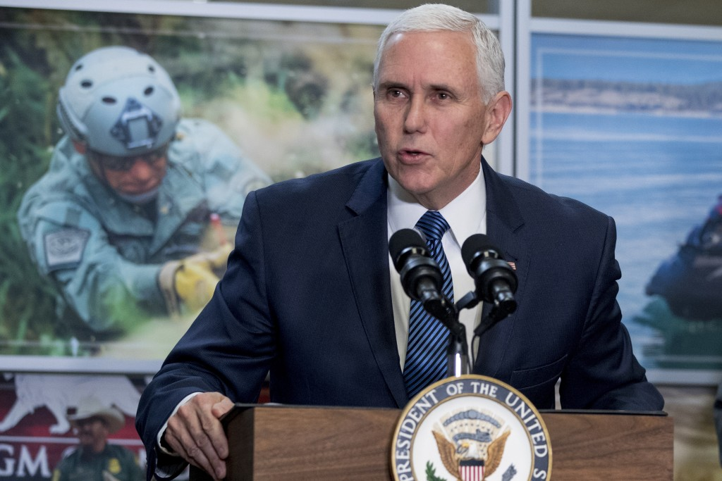 In this Jan. 11, 2019, photo, Vice President Mike Pence speaks to U.S. Customs and Border Protection employees at their headquarters in Washington. (A